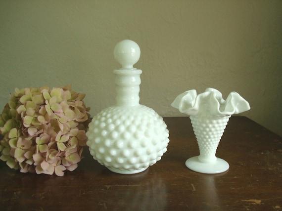 Fenton hobnail milk glass vase & Fenton perfume bottle for Wrisley, vanity accessory