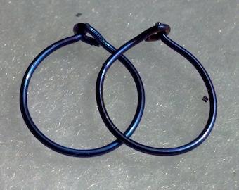 Niobium or Titanium Hoops, natural, gold, blue