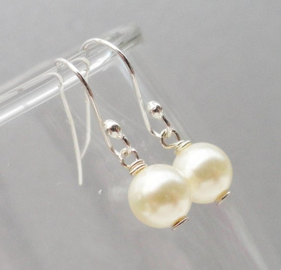 Flower Girl Or Junior Bridesmaids Swarovski Pearl Earrings Sterling Silver