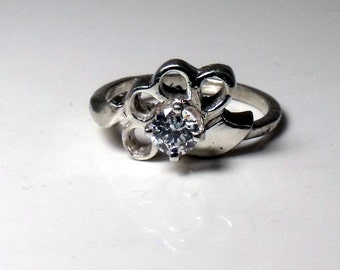 Sterling Silver Flower Ring with Cubic Zirconia RF461