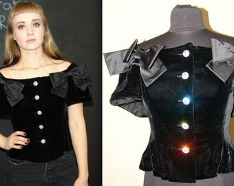 Vintage Black Velvet TOP, 1980s, Union Made