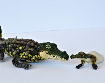Needle Felted Animal. Mother Crocodile and baby. Collectible artist animals. Ready to ship.