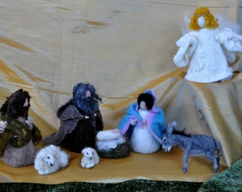 Needle felted Nativity Set /Nativity/Waldorf 8 pieces/Mother and Child, father, sheep, donkey,needle felt by Daria Lvovsky-Made to order