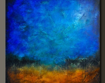 Sapphire and Sand 5 - 48 x 48 - Abstract Acrylic Painting - Huge Contemporary Wall Art