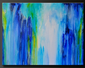 Downpour - 40 x 30 - Abstract Acrylic Painting - Huge Contemporary Wall Art- Drip - Large Modern