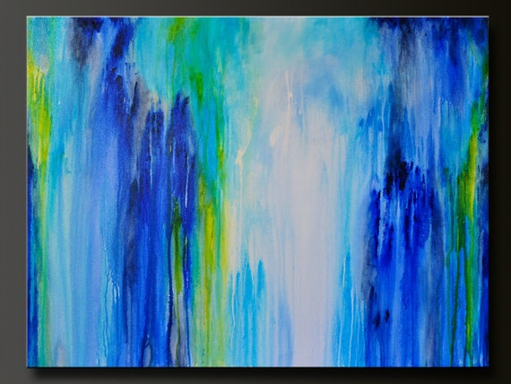 Downpour 40 X 30 Abstract Acrylic Painting Huge