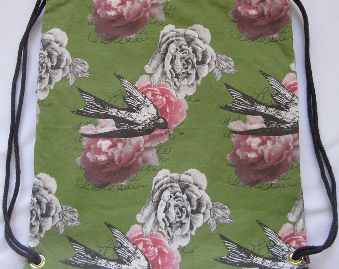 Romantic Peonies and Birds:Backpack/tote Custom Print