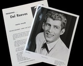 RESERVED Del Reeves Publicity Photo and Bio - Early 1950s - 8 x 10 - Opry - Nashville
