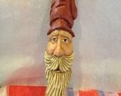 Carved Wood Santa Ornament