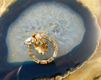 Vintage Weiss Brooch Rhinestone and Gold Orchid in a Ring of Baguettes: Everblooming Orchid