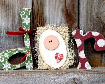 ADORE Christmas Wood Letters