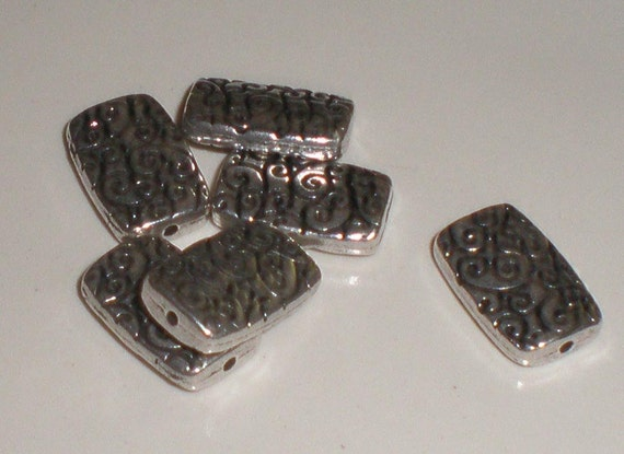 Antiqued Silver Rectangle Scroll Beads (6)