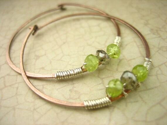 Peridot Mystic Smokey Quartz Gemstone Copper Hoop Earrings Sterling Silver Green Brown