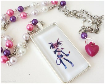 Disgaea Etna Necklace, Beaded Purple Pink and Lavender Pearl Chain with Glass Pendant - Gamer