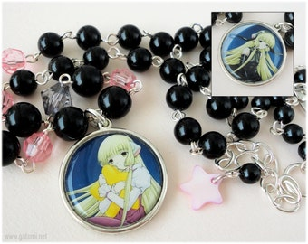 Reversible Chobits Necklace, Chii and Freya Pendant, Black and Pink Beading, Silver Plated - Anime