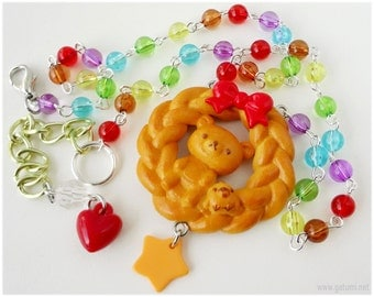 Rilakkuma and Kiiroitori Bread Necklace, Beaded Rainbow Chain, Silver - Kawaii Jewelry
