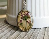 Purple Pressed Flower Necklace Botanical Jewelry Resin Purple Keys of Heaven Plant Oval Pendant Antique Brass Chain