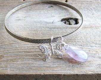 Charm Bracelet Silver Butterfly Charm Bangle Upcycled Vintage Bracelet Purple Amethyst Briolette Charm Botanical Jewelry Garden Inspired