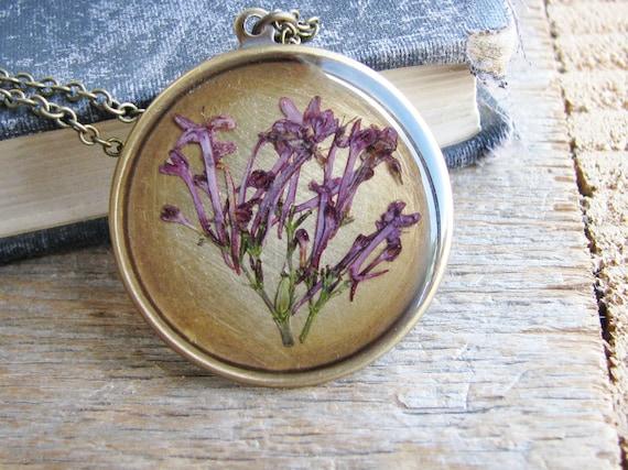 Pressed Flower Botanical Jewelry Necklace Keys of Heaven Purple Flower Resin Pendant Garden Lover Gift