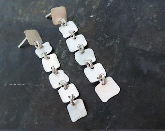 925 Sterling Silver 6 Squares Long Earrings