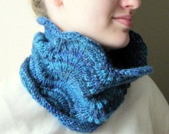 Knit cowl neck warmer - tube scarf, scarflette, blue, hand knitted, wool
