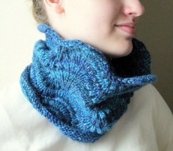 Tube Cowl Knitting Pattern : Items similar to Knit cowl neck warmer - tube scarf, scarflette, blue, hand k...