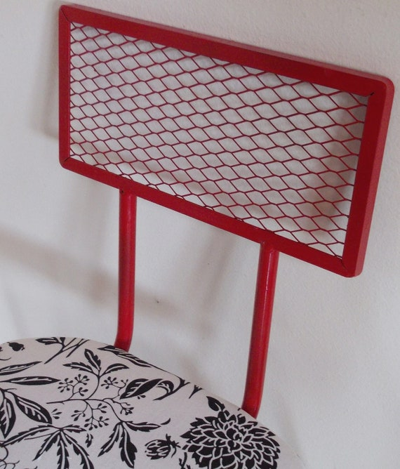 SALE ... Was 58.00 Retro Metal Upholstered Chair Red White Black Upcycled for Accent or Desk