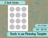 Scrapbook Digital Collage Photoshop Template, 2 Inch Circles