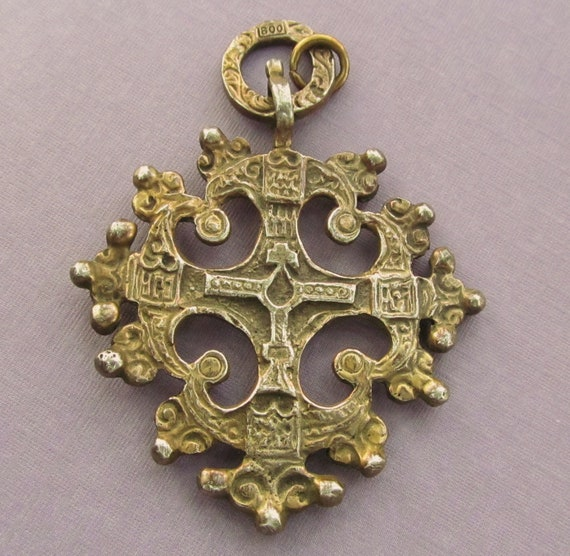 Antique Italian Florentine Cross 800 Gold Washed Silver Religious Pendant  SS159