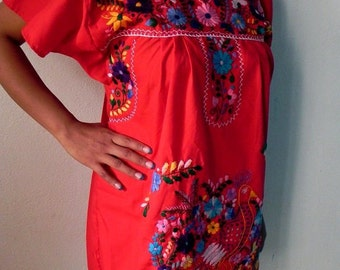 Mexican Red Mini Dress Colorful Vtg Tunic Floral Embroidered Handmade Elegant Medium