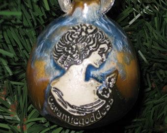 Made to Order Custom Stamped Handmade Wheel Thrown Crystalline Glazed Porcelain Christmas Tree Ornament