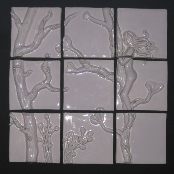 Art Nouveau Inspired Woman Embracing Tree Nature White Light Purple Porcelain Relief Tile for Back Splash or Wall Hanging
