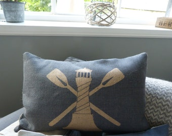 hand printed light house cushion cover
