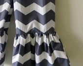 """Girls Ruffle Pants- Gray and White Chevron - Made from Viola Lee Pattern """"Emma Lee"""""""
