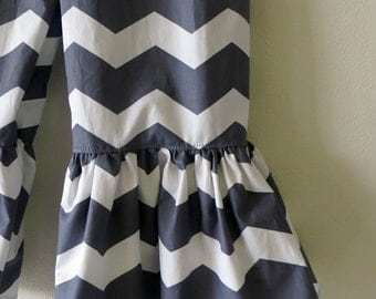 "Girls Ruffle Pants- Gray and White Chevron - Made from Viola Lee Pattern ""Emma Lee"""