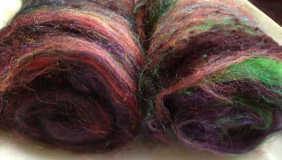 Witch's Apprentice spinning batt (Textured) WA005 baby alpaca alpaca noil suri alpaca silk noil corriedale firestar - 2.0 oz