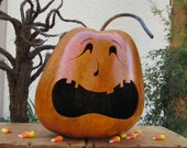 Halloween Gourd Jack-O-Lantern Natural Carved Spooky Fall Decoration Centerpiece Candy Bowl