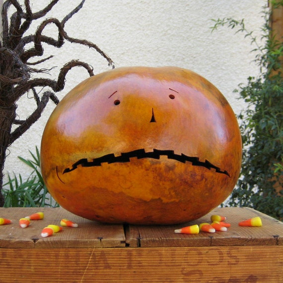 Halloween Gourd Jack-O-Lantern Natural Carved Spooky Fall Decotation Candy Bowl