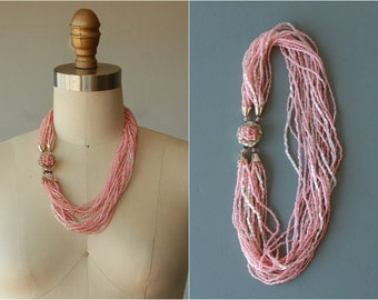1960s necklace / 60s beaded multi strand necklace / pink beaded / made in japan