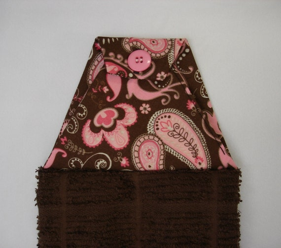 Brown Hanging Hand Towel with Buttoned Pink Paisley Cotton Top