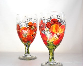 Tea Glasses Hand Painted Glassware Flower Goblets ~ Gift Boxed