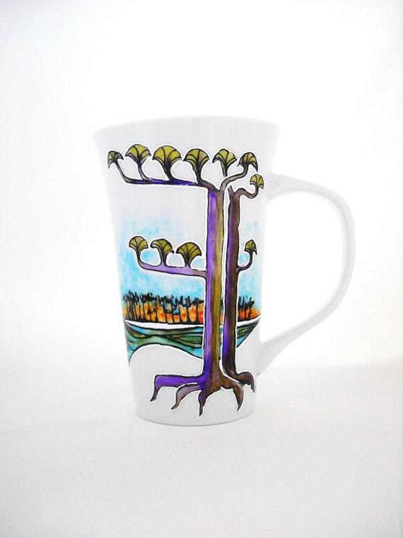 Pine Tree Beach Large Latte Mug Hand Painted Porcelain Mug