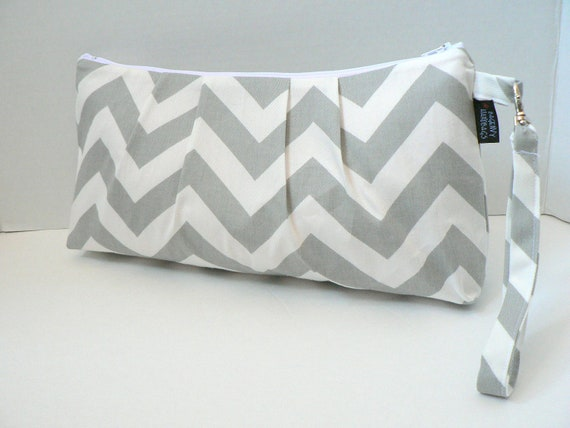 The Catalina Clutch In Grey Chevron Zippered Closure and Detachable Wristlet  Diaper Clutch Or Bridesmaid Clutch