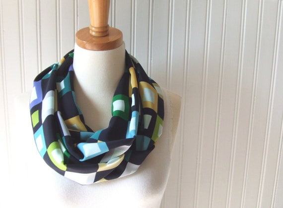 Color Blocks Infinity Scarf - Navy Blue Turquoise Lime Green Modern Squares Circle Loop Cowl - LAST ONE