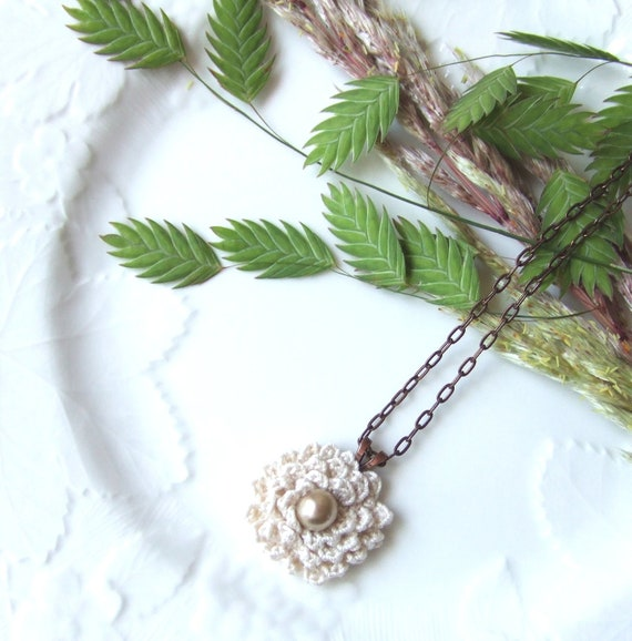 Crochet Flower Necklace in Antique Pearl with Brass Chain New