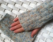 Fingerless Mittens in Soft Grayblue with Blue and Tan Specks
