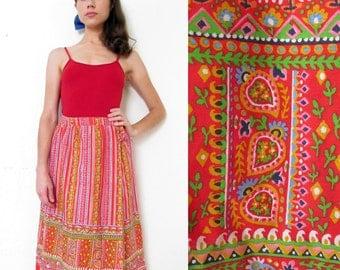 Vintage Bohemian FOLK WRAP Skirt S/M