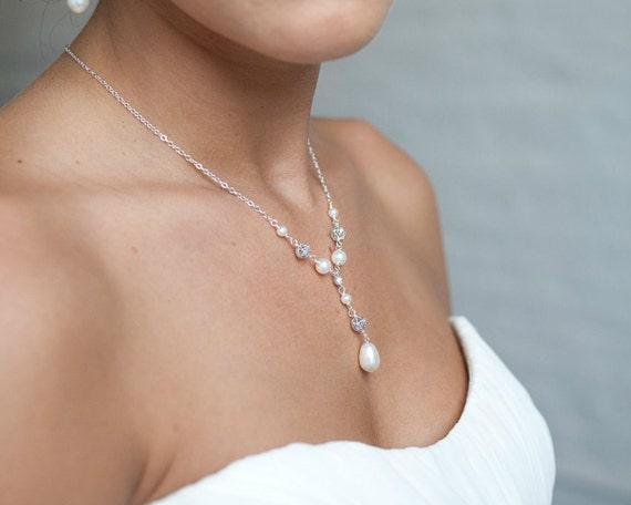 Bridal Pearl Pendant Y Drop Pearl Necklace Wedding Jewelry