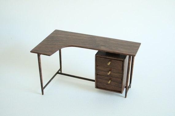Miniature Mid Century Walnut Desk