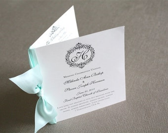 25 - Booklet Programs with Satin Ribbon - 24 Style Options Available